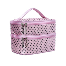 Pink Polka Dot Double Layers Cosmetic Bag