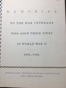 IBM Gold Star Memorial Book