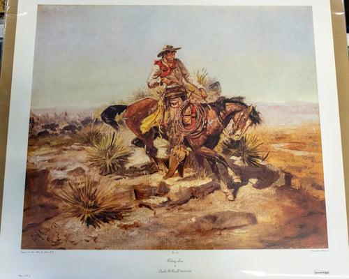 Collograph Print - Charles M. Russell - No. 270 Riding Line