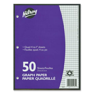 "Hilroy 4:1"" Two-Sided Quad Ruled Filler Paper"