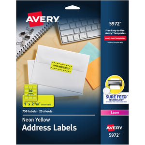 "Avery® Neon Address Labels with Sure Feed(TM) for Laser Printers, 1"" x 2 5/8"" , 750 Yellow Labels (5972)"