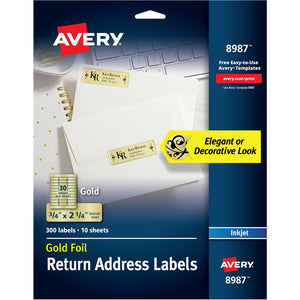 "Avery® Foil Mailing Labels, Gold, 3/4"" x 2-1/4"" , 300 Labels (8987)"