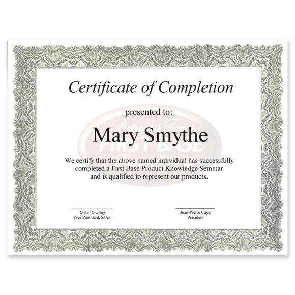 First Base Gloche Certificate