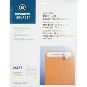 Business Source Block-out File Folder Labels
