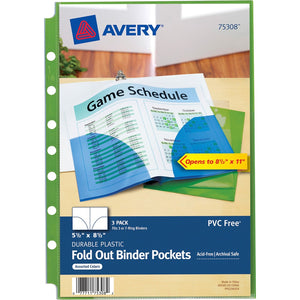 Avery® Small Binder Pockets, Fold-Out, 5 1/2 x 9 1/4, Assorted, Pack of 3 (75308)