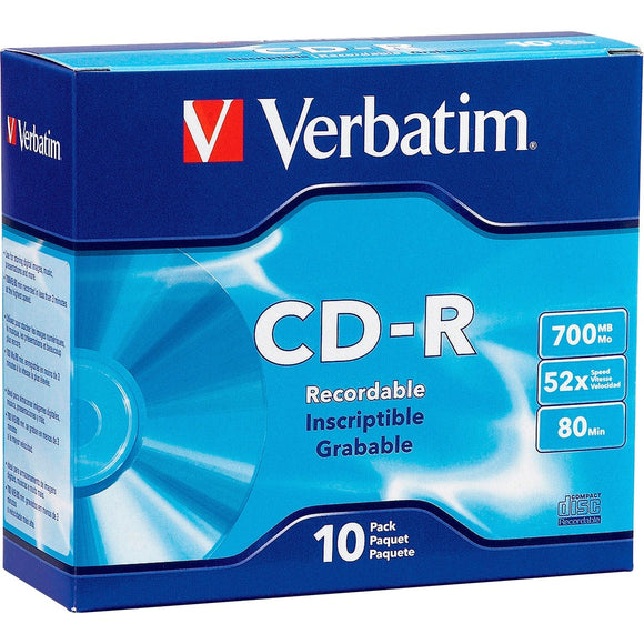 Verbatim CD-R 700MB 52X with Branded Surface - 10pk Slim Case - The Supply Room