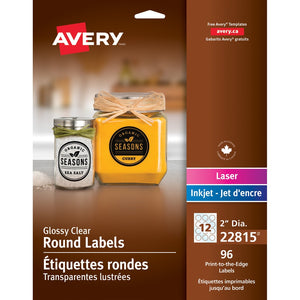 "Avery® Glossy Clear 2"" Round Labels"