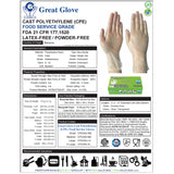 GREAT GLOVE CPE CAST POLYETHYLENE HYBRID GLOVES, POWDER FREE