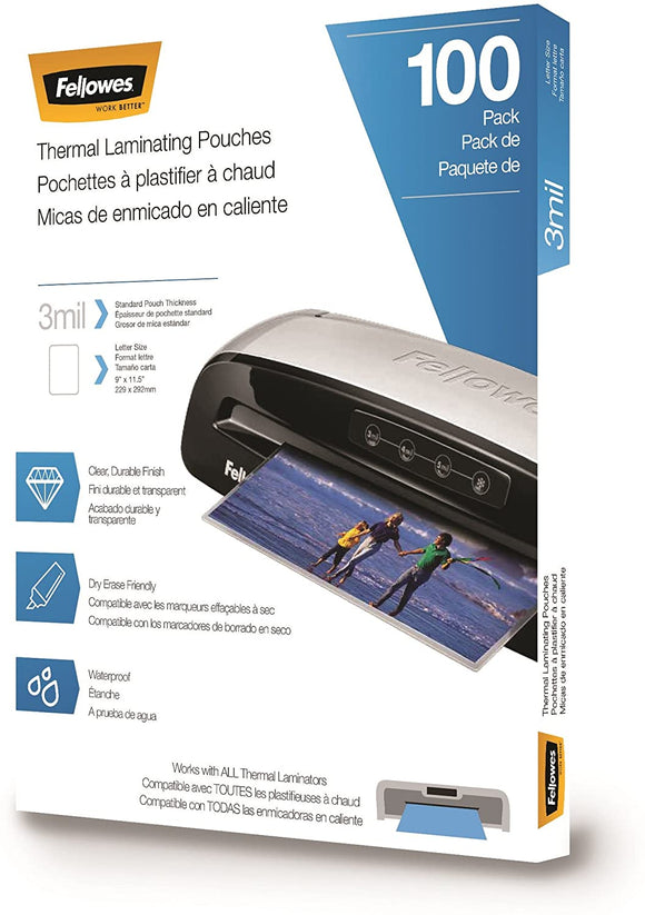 Fellowes Thermal Laminating Pouches, Letter, 3 mil