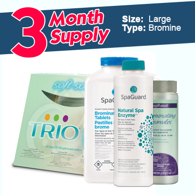 "Bromine 3 Month Pack - Large (1000L+)</br><font color=""grey"">(Complete Hot Tub Care)</font>"