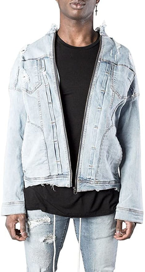 Kollar | Distressed Denim Jacket Light Blue | Uptown Woods