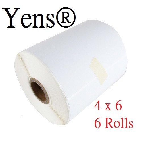 Yens Label 6 Rolls of 250 4x6 Direct Thermal Label for Zebra 2844 2843 ZP-450 ZP-500 ZP-505 Eltron Labels