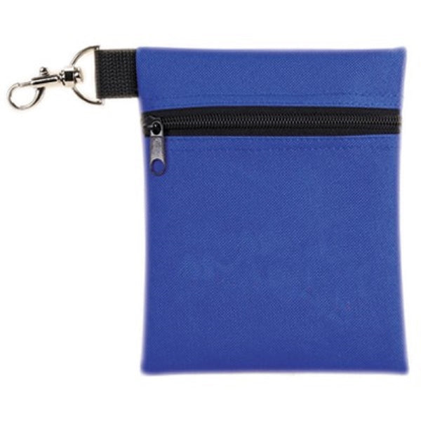 Metal clip Zippered pouch Material: Poly 600D Royal Blue