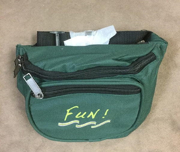Yens 3 Zippered Fanny Pack w/Fun Logo, FN-03F (Hunter Green)