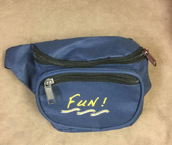 Yens 3 Zippered Fanny Pack w/Fun Logo, FN-03F (Navy Blue)
