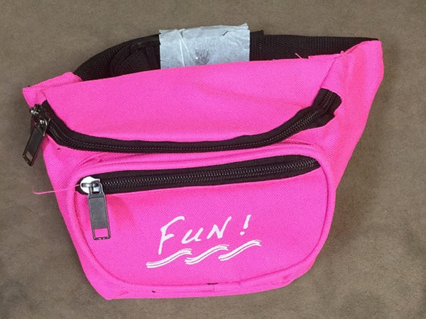 Yens 3 Zippered Fanny Pack w/Fun Logo, FN-03F (Neon Pink)