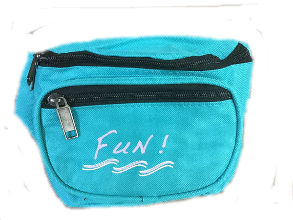 Yens 3 Zippered Fanny Pack w/Fun Logo, FN-03F (Teal)