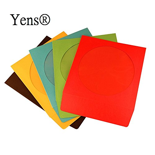 1000 Pcs Assorted Full Color Paper CD Sleeves with Window & Flap