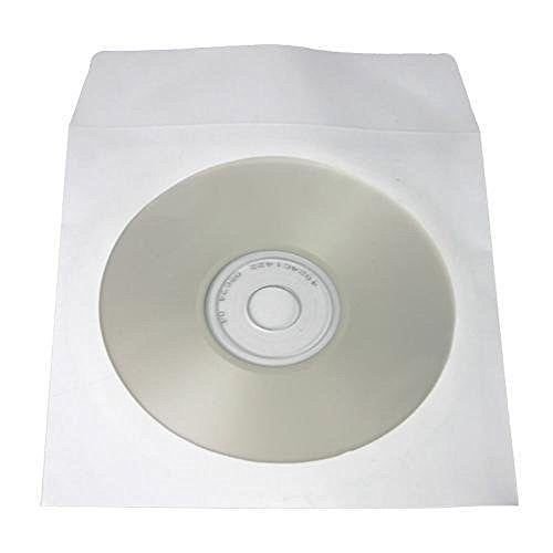 100 pcs CD DVD White Paper Sleeves with Clear Window