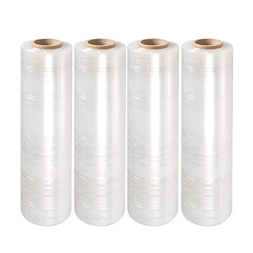 "Yens 4 Rolls Clear Stretch Film Plastic Pallet Wrap 18"" Wide x 1000 Ft. 80 Gauge."