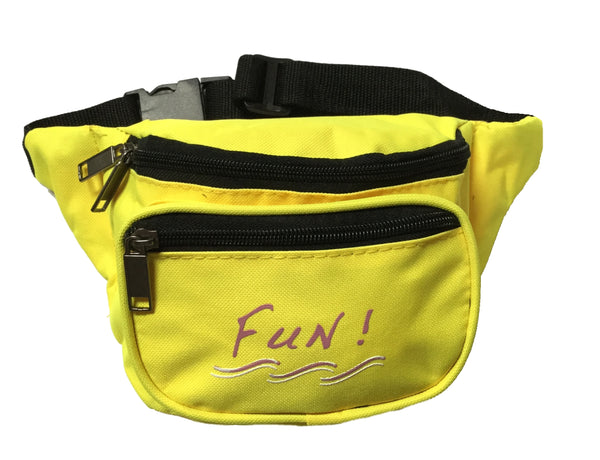 Yens 3 Zippered Fanny Pack w/Fun Logo, FN-03F (Neon Yellow)