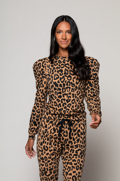 Leopard Puff Sleeve Pullover