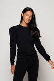 Black Puff-Sleeve Pullover