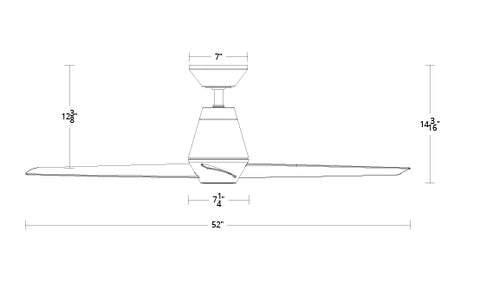 52 inch Slim ceiling fan dimensions by Modern Forms