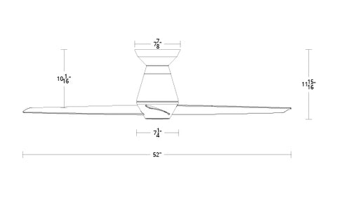 52 inch Slim Flush ceiling fan dimensions by Modern Forms