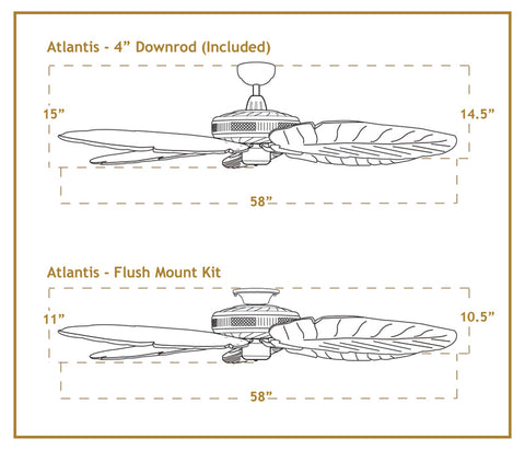 Atlantis 58 inch ceiling fan dimensions