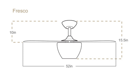 TroposAir Fresco ceiling fan dimensions