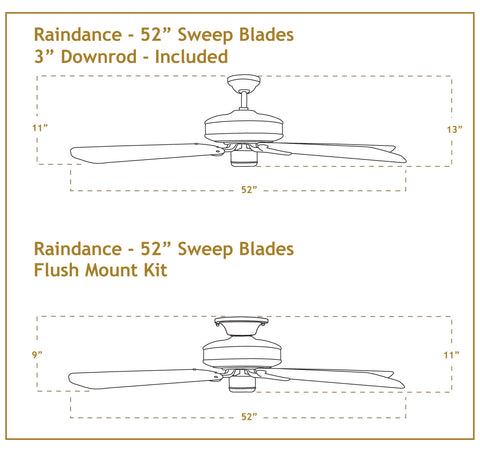 52 inch Raindance Ceiling Fan Dimensions