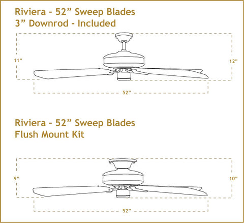 52 inch Riviera ceiling fan dimensions