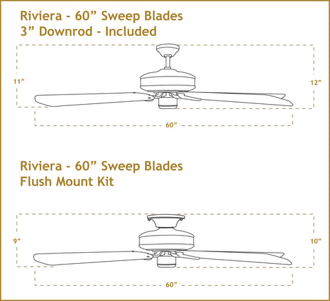 60 inch Riviera ceiling fan dimensions