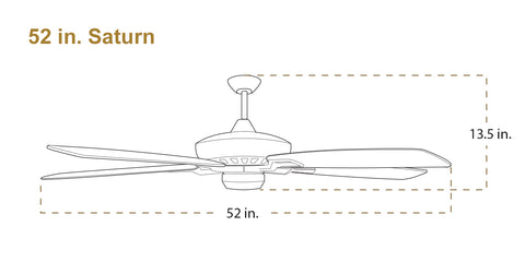 TroposAir Saturn ceiling fan dimensions