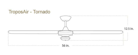 56 inch Tornado ceiling fan dimensions