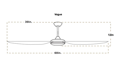 60 inch Vogue ceiling fan dimensions
