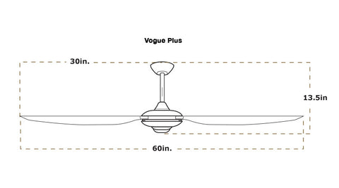 Vogue plus ceiling fan dimensions