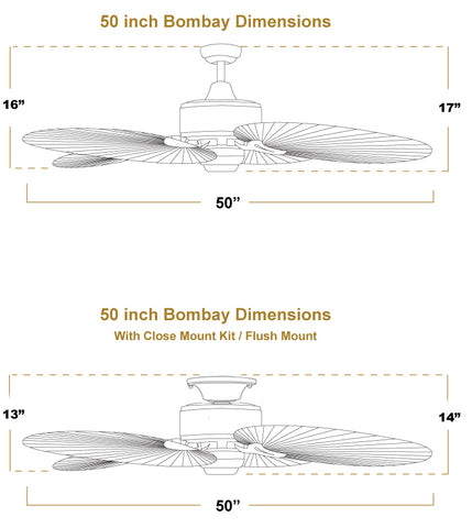 50 inch Bombay ceiling fan dimensions