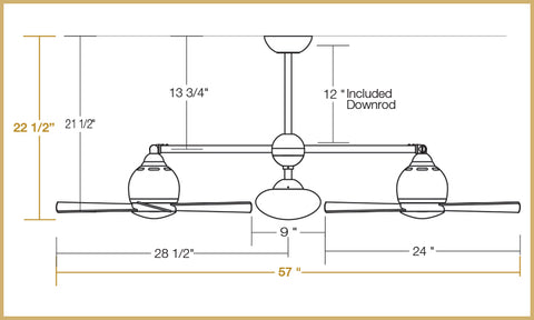 Metropolitan ceiling fan dimensions in 90 degree configuration