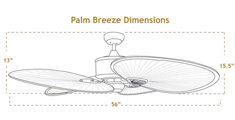 56 inch Palm Breeze ceiling fan dimensions