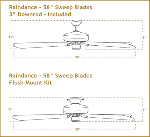 58 inch Raindance ceiling fan dimensions