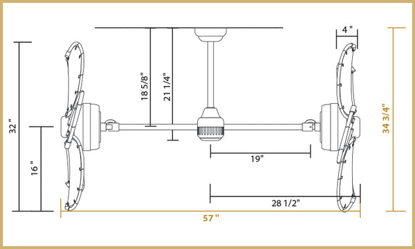 Twin Star III Dimensions 30 inch Blades - Horizontal Configuration