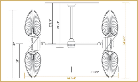 Twin Star III Dimensions 46 inch Blades - Horizontal Configuration