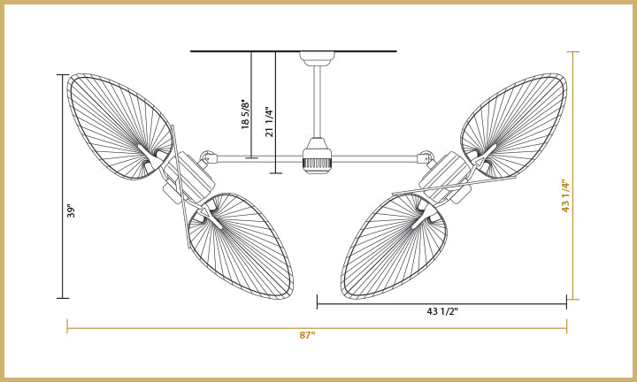 Double ceiling fan 54 inch twin star iii natural palm blades twin star iii dimensions 54 inch blades angled configuration aloadofball Images