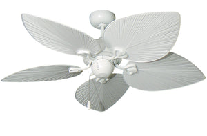 42 inch Bombay Ceiling Fan - Pure White Leaf Blades - tropical-fan-company