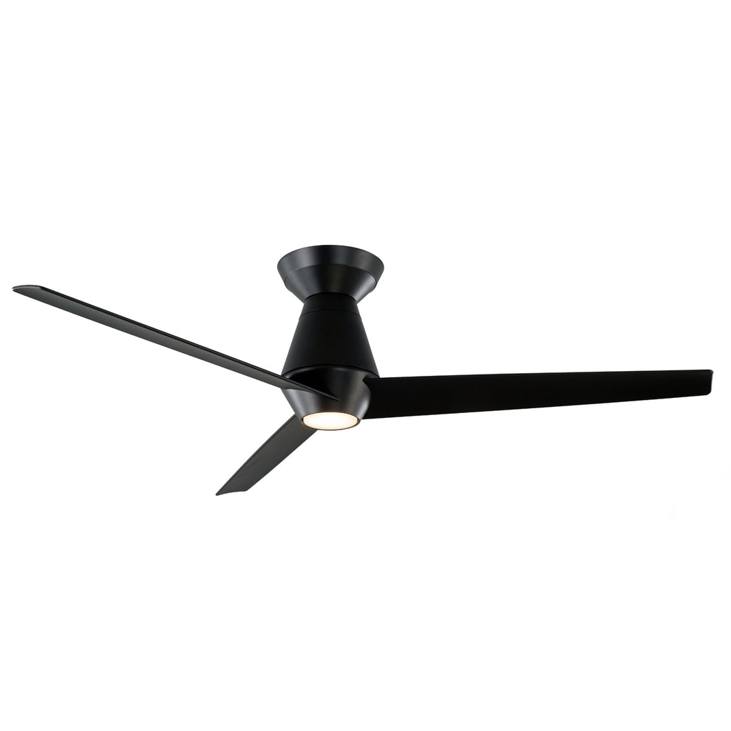 52 inch Slim Flush Ceiling Fan - Matte Black Finish