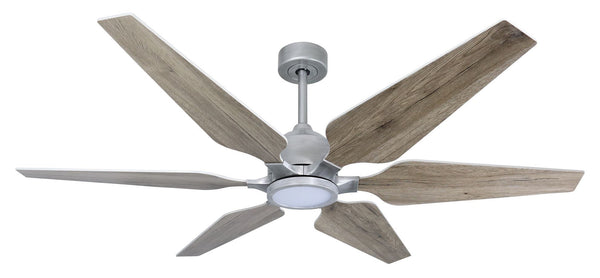 60 inch Optum - Brushed Nickel, distressed grey blades and led light