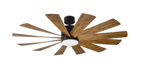 60 inch Windflower Ceiling Fan - Matte Black Finish with light