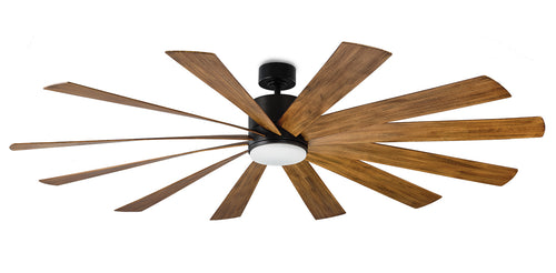 80 inch Windflower Ceiling Fan - Matte Black Finish with light